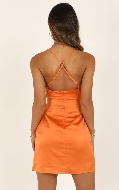 Saw The Light Dress in tangerine satin - 20 (XXXXL), Orange, hi-res image number null