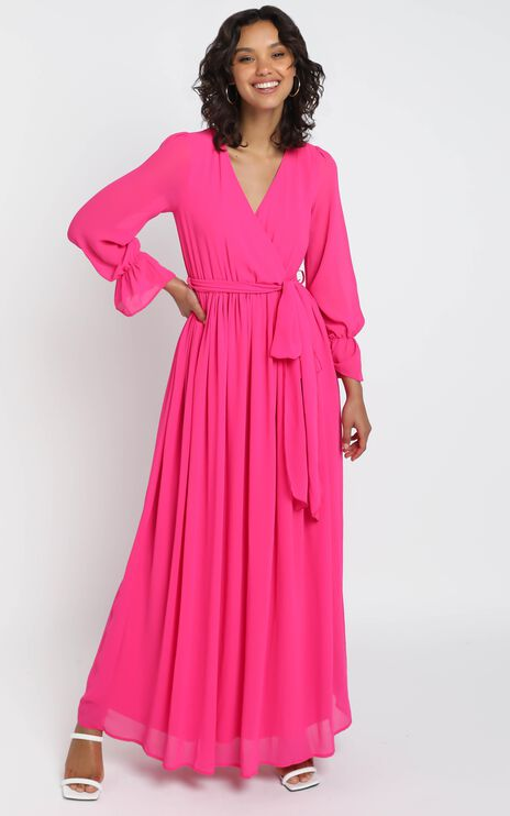 In Love Long Sleeve Maxi Dress in Fuschia