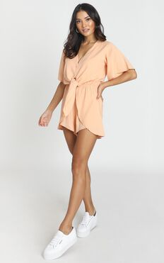 Simone Tie Front Playsuit In Apricot