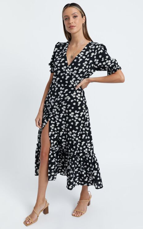 Washington Dress in Black Floral