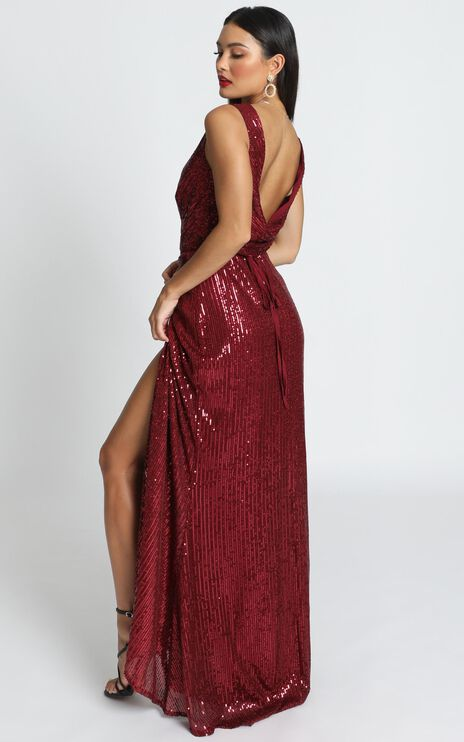 Feeling Pretty Dress In Wine Sequin