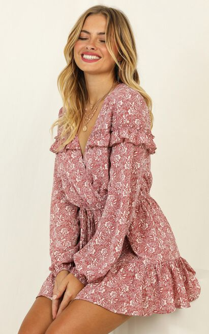 Making Me Nervous Playsuit in rose floral - 20 (XXXXL), Pink, hi-res image number null