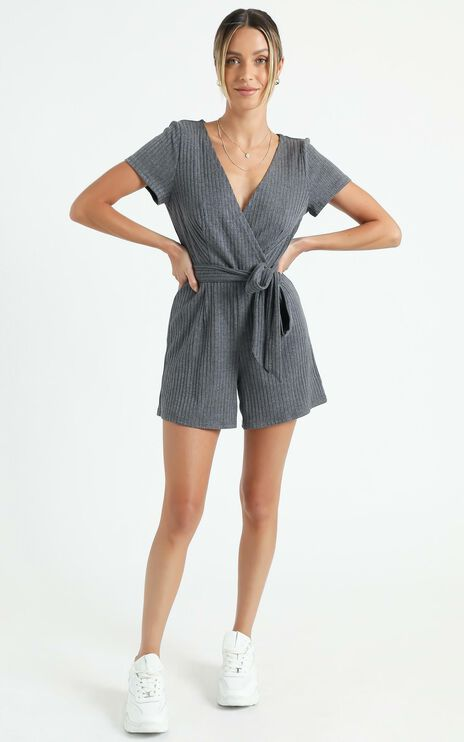 Star Gal Playsuit In Charcoal Rib