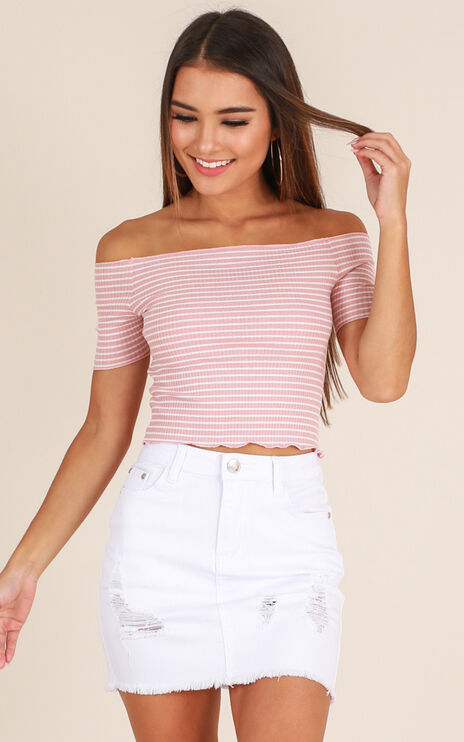 Malibu Sunset Denim Skirt in White Denim