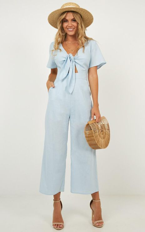 The Thing About Her Jumpsuit In Blue Linen Look