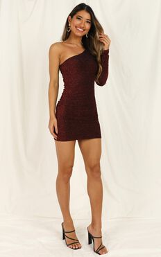 I Do What I Want Dress In Wine Lurex