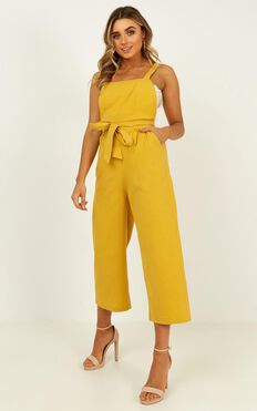 Younger Frills Jumpsuit In Mustard