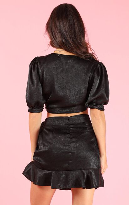 Best Of Both Worlds two piece set in black satin - 20 (XXXXL), Black, hi-res image number null