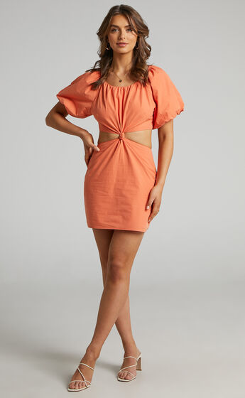 Hyacinth Puff Sleeve Mini Dress with Twist Front in Orange