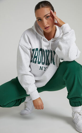 Sunday Society Club - Brooklyn NYC Oversized Hoodie in White Marle