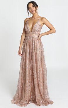 Romantic Night Maxi Dress In Rose Gold Glitter