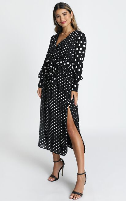Natural Talent Dress in black spot - 20 (XXXXL), Black, hi-res image number null