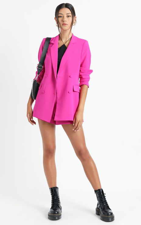 Quick To Win Blazer in Hot Pink