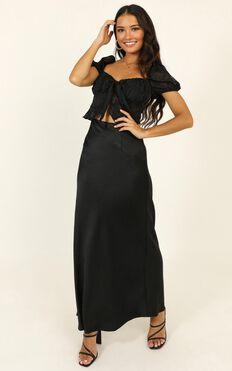 Lioness - Stop Fighting Skirt In Black Satin