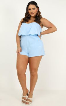 New Energy Playsuit In Blue Linen Look