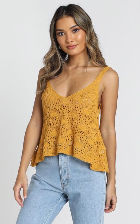 Falling Droplets Knit Top In Mustard