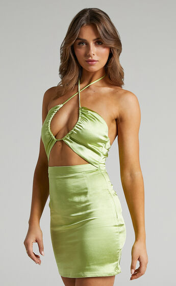 Skylah Mini Cross Over Halter Dress in Green