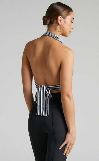 Cammie Halter Neck Top in Black Stripe