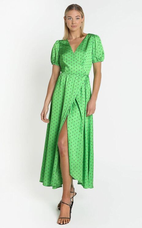 Kori Midi Dress in Green Polka