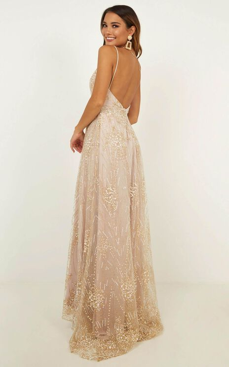 Called Out Dress In Gold Sparkle