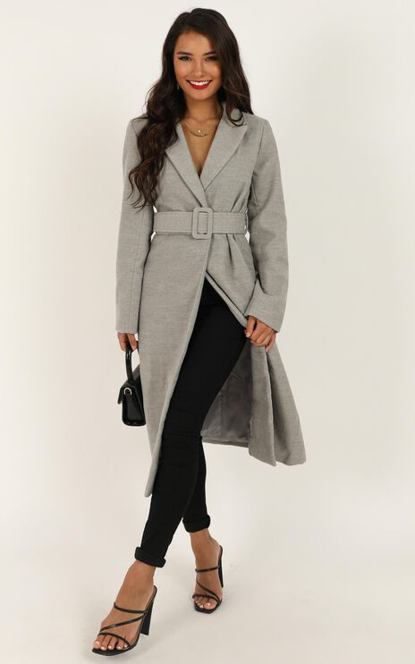 Green With Envy Coat In Grey Marle