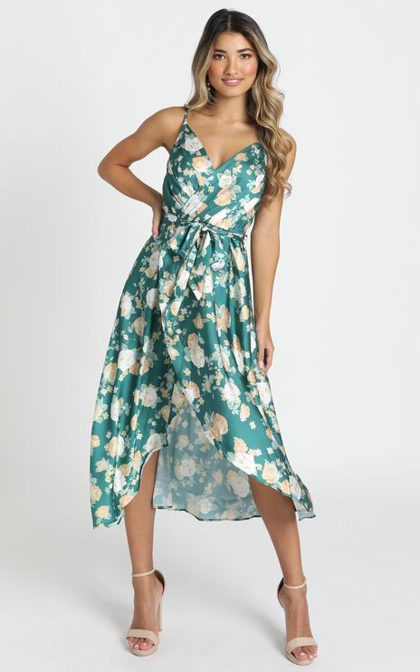 Latest Addiction Dress In Green Floral