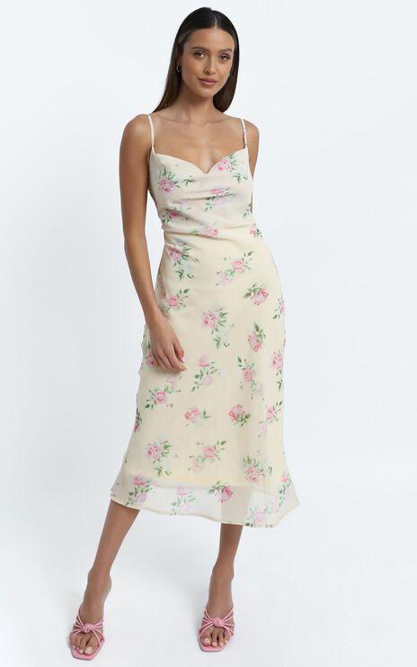 Flutter Dress in Cream Floral