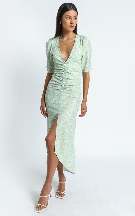 Elianna Dress in Green Floral