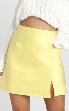 Mini Slip Skirt In Lemon Satin
