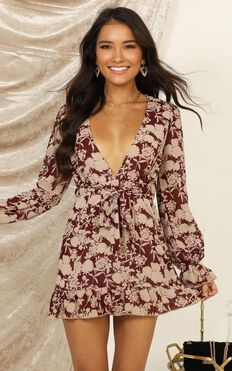 Favourite Things Dress In Red Floral