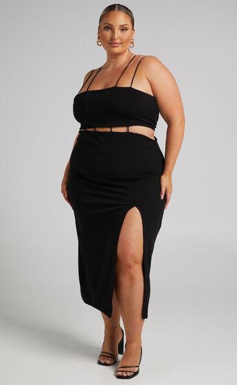 Sumeria Strap Detail Midi Dress in Black