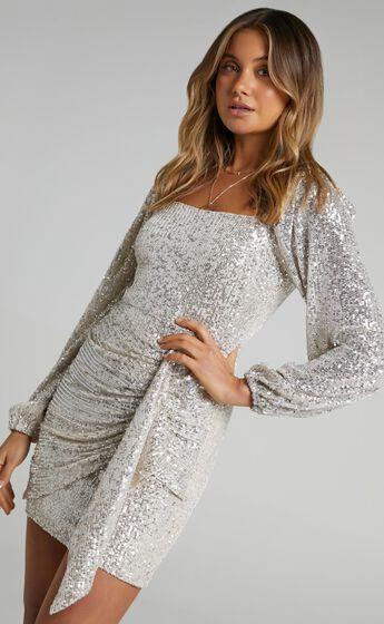 Harmony Longsleeve Drape Mini Dress in Champagne Sequin