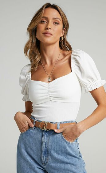 Esher Puff Sleeve Bodysuit in White