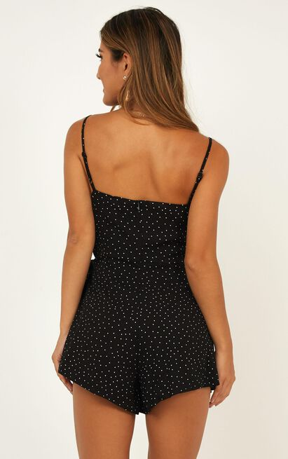 Before The Rising Sun Playsuit in black micro spot - 20 (XXXXL), Black, hi-res image number null