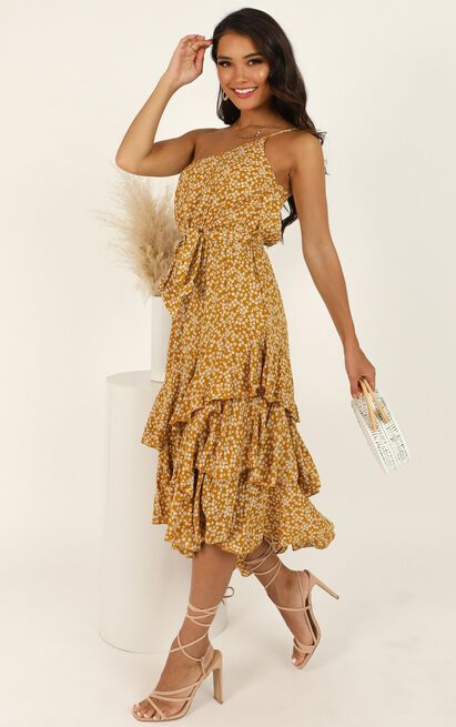 Be With Me Instead Dress In Mustard Print - 16 (XXL), Mustard, hi-res image number null