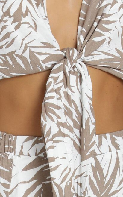 Bromley Skirt in brown tropical floral, Brown, hi-res image number null
