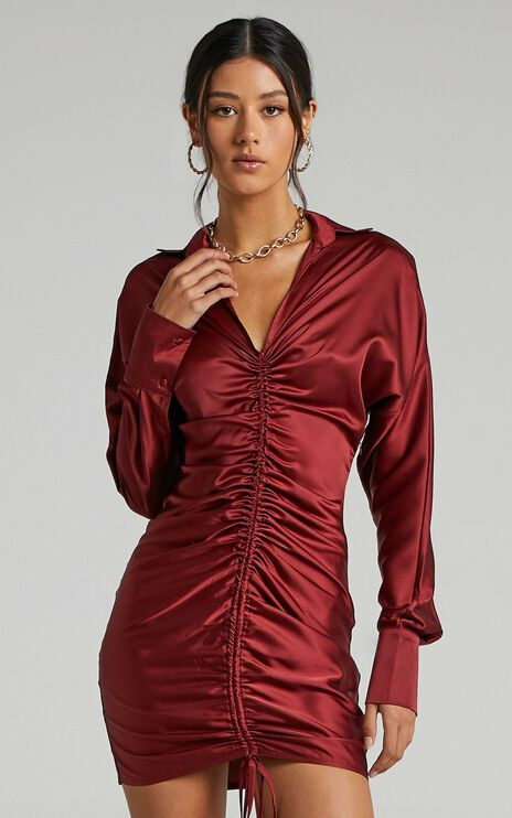 Cordyline Dress in Wine Satin