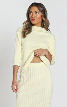 Cicely Knitted Top in Pastel Yellow