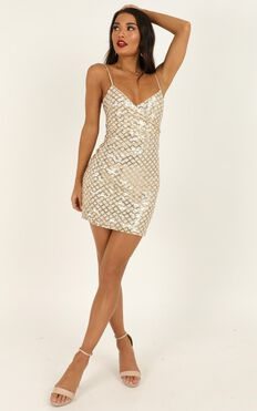 Right Hand Chick Dress In Gold Sequin