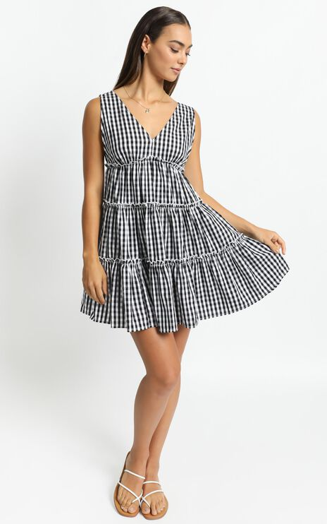 Millie Dress in Black Gingham Check