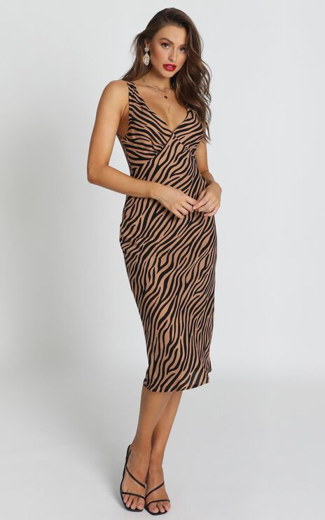 Find Your Feet Dress In Tan Stripe