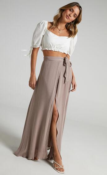 Break A Leg Wrap Thigh Split Maxi Skirt in Mocha
