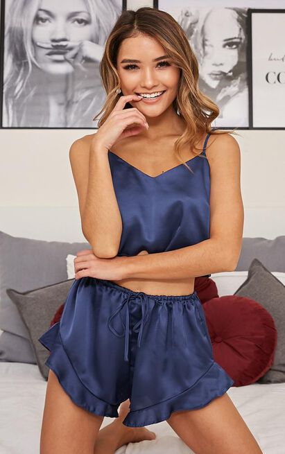 Keeping Secrets Two Piece Set in midnight navy satin - 20 (XXXXL), Navy, hi-res image number null