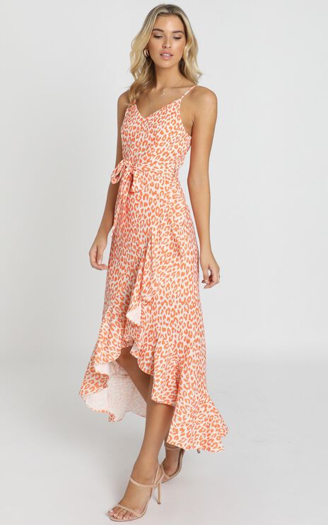 Current Situation Dress In Orange Print