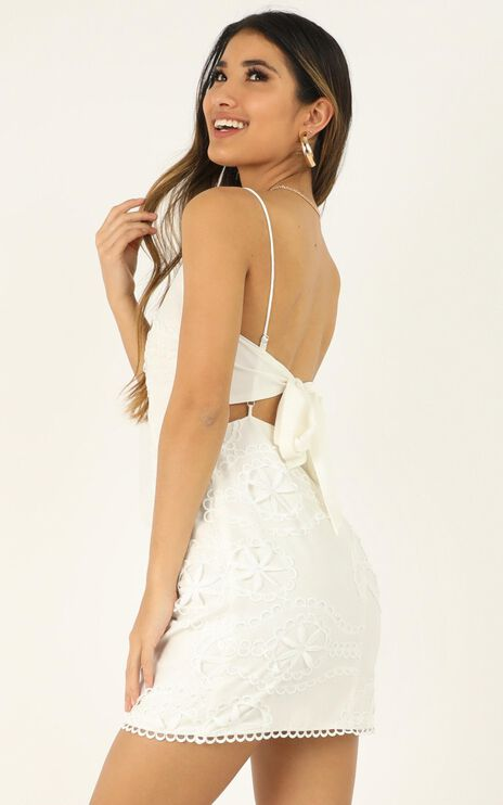 Daisy Vanilla Dress In White Embroidery