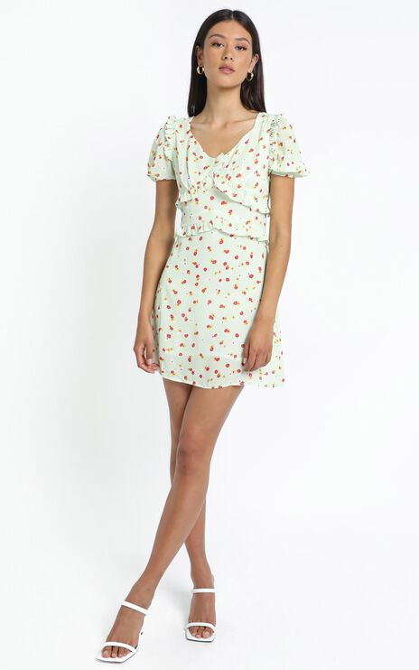 Lacie Dress in Green Floral