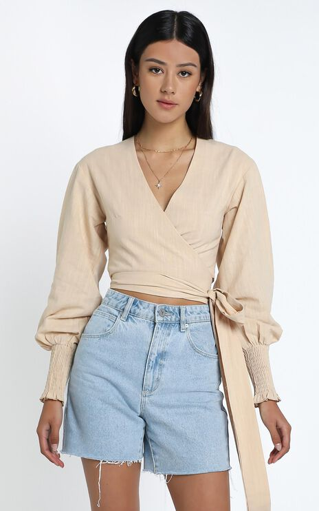 Eisley Top in Beige Linen Look