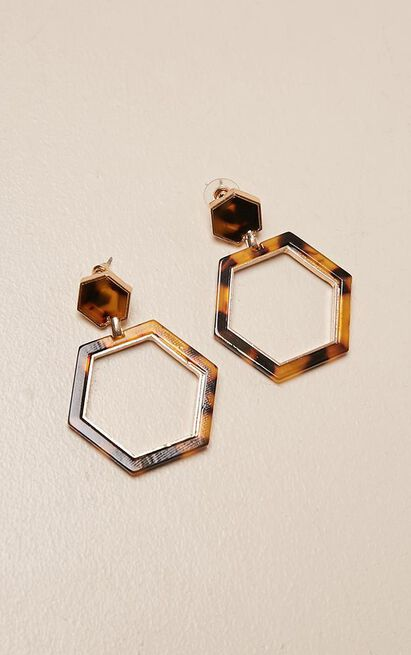 No Shame earrings in tortoise shell, , hi-res image number null