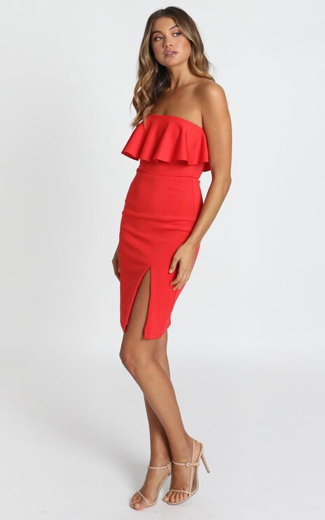 Pretty Vibes Dress In Red