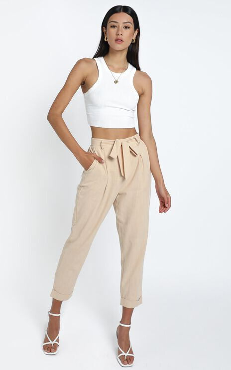 Clover Pants in Beige Linen Look